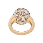 Vintage Pomellato 18k Yellow Gold Harem Crystal Clear Ring // Ring Size: 5.75
