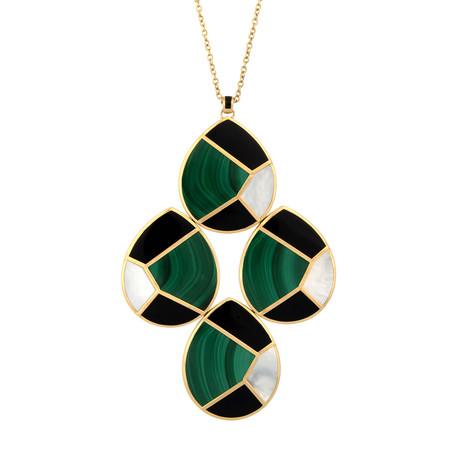 Vintage Ippolita Mosaic Malachite + Onyx 18k Yellow Gold Pendant Necklace