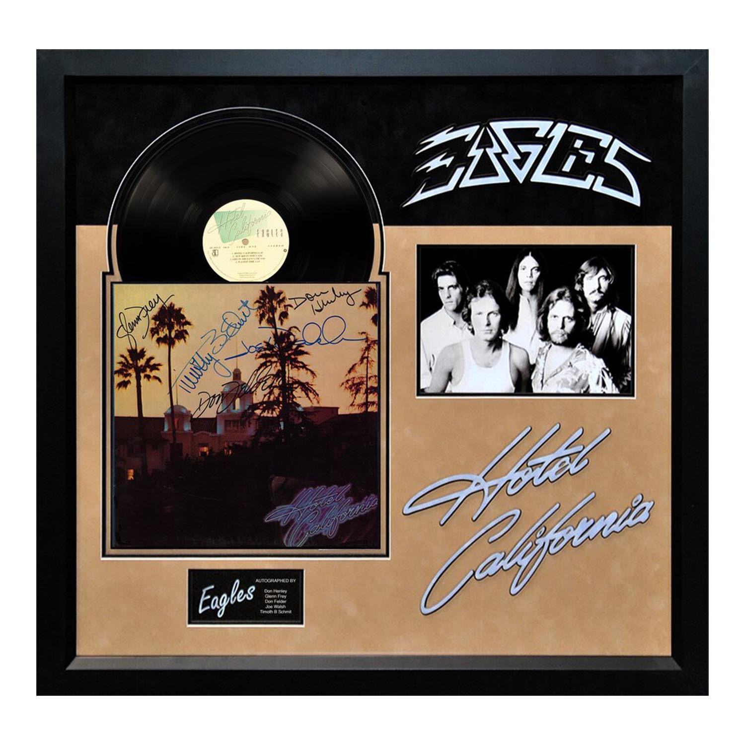signed album eagles hotel california legendary names in pop culture touch of modern. Black Bedroom Furniture Sets. Home Design Ideas