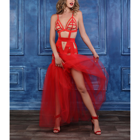 I'm Your Fantasy Mermaid Dress + Tulle Tail // Red (S)