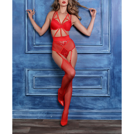 Freya Angel Of Love Lace Teddy // Red (S)