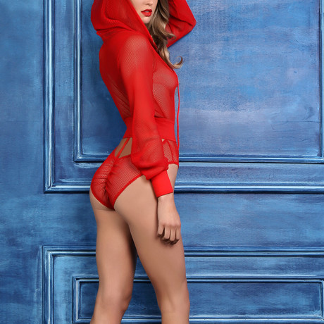 Chloe Sweet + Delicious Fishnet Body With Hood + Cut Out Back // Red (S)