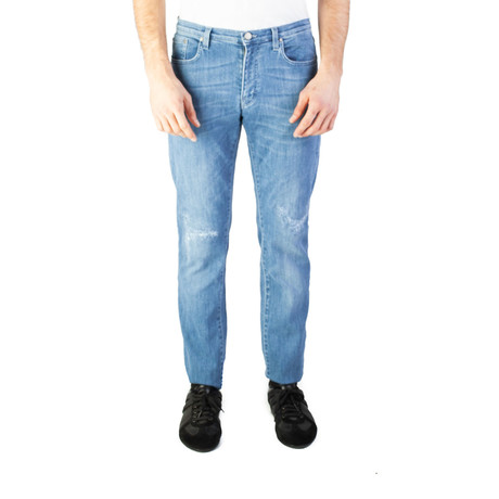 Versace Collection // Skinny Fit Ripped Jeans // Light Blue (US: 32)
