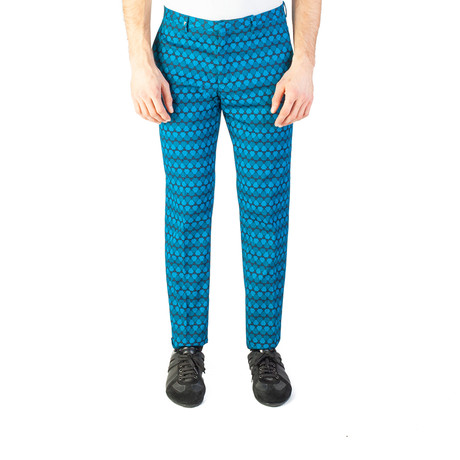 Versace Collection // Slim Fit Tribal Print Trouser Pants // Blue + Black (US: 32)
