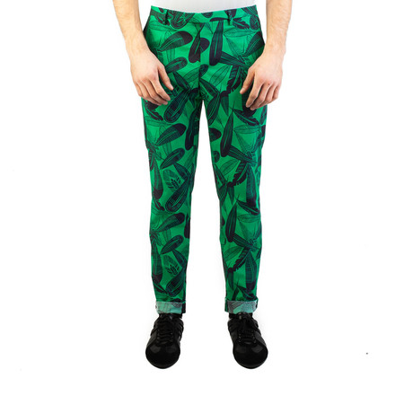 Versace Collection // Slim Fit Tropical Print Trouser Pants // Green + Black (US: 32)