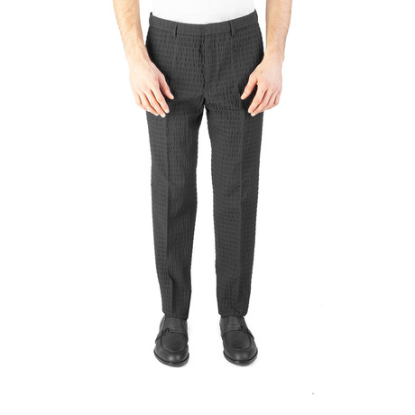 Versace Collection // Wool Slim Fit Checkered Trouser Pants // Black (US: 32)