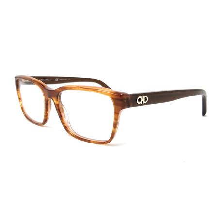 Ferragamo // Men's SF2781 Optical Frames // Stripe Brown