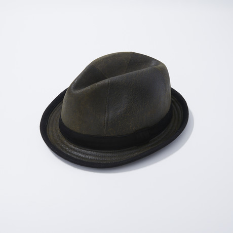 Leather Fedora // Brown (S)