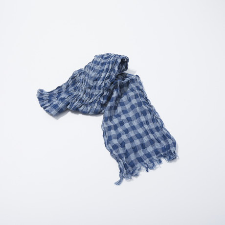 Gingham Stripe Scarf (Grey)
