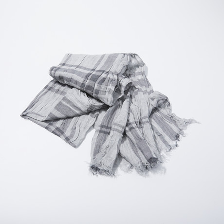 Exploded Shirt Plaid Scarf // Gray