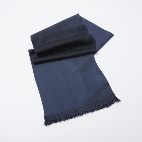 Gradient Stripe Jacquard Scarf (Black)