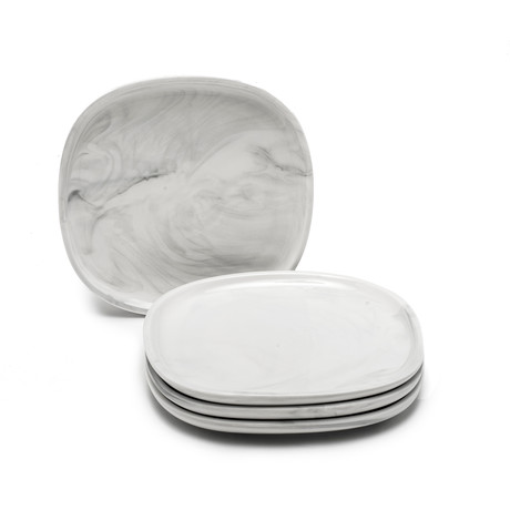 """8.5"""" Square Salad Plate // Set Of 4 (Marble)"""