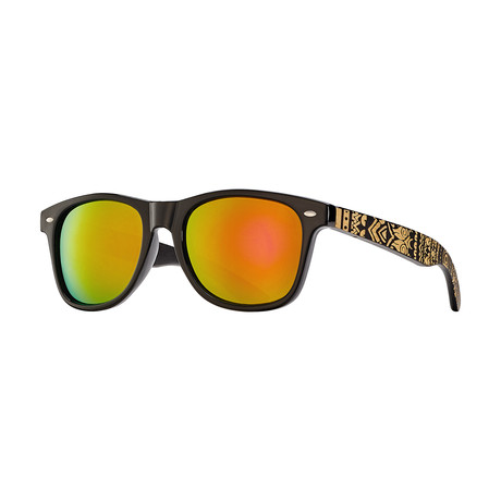 Trybe // Black Onyx + Tribal Engraved Bamboo + Red Mirror Lens