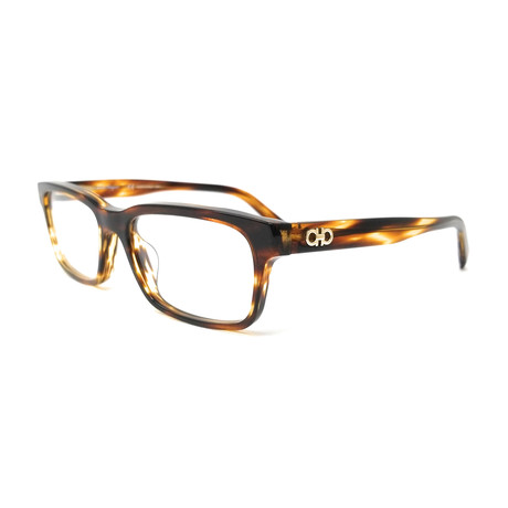 Salvatore Ferragamo // Men's Narrow Rectangle Optical Frames // Havana