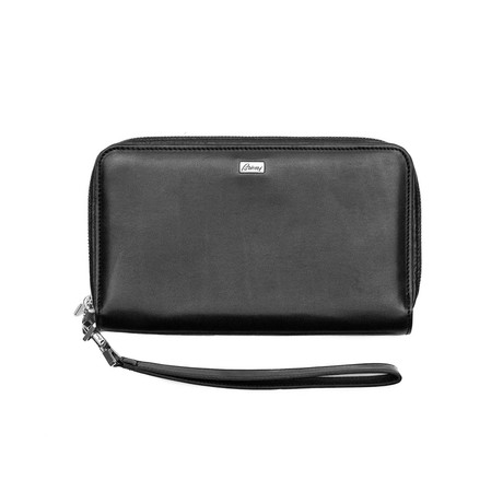 Brioni // Smooth Leather Double Compartment Wallet // Black