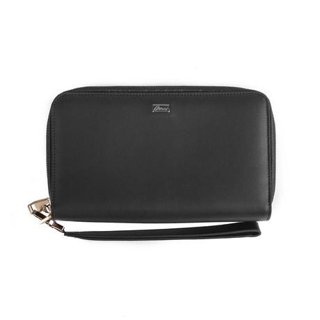 Brioni // Leather Double Compartment Wallet // Black