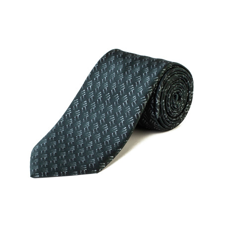 Brioni // Silk Geometric Pattern Tie // Green + Gray