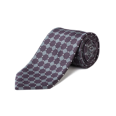 Brioni // Silk Checkered Pattern Tie // Purple + Gray