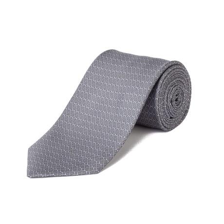 Brioni // Silk Pattern Tie // Gray + Pink