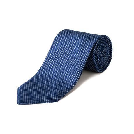 Brioni // Silk Circle Pattern Tie // Blue + Silver
