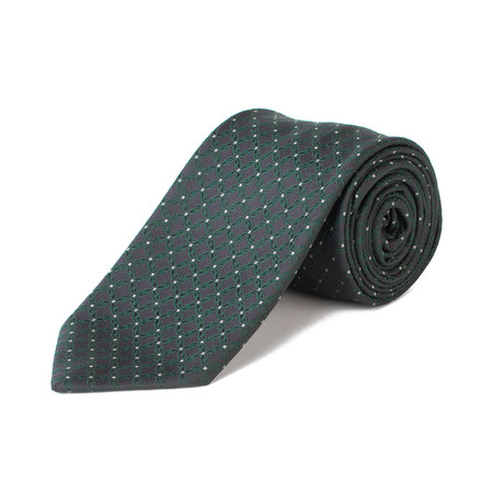 Brioni // Silk Pattern Tie // Navy + Green