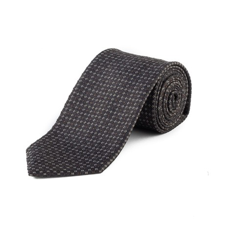 Silk Textured Pattern Tie // Black