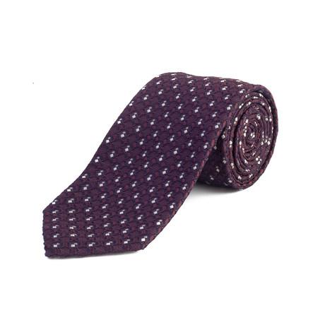 Silk Textured Pattern Tie // Purple