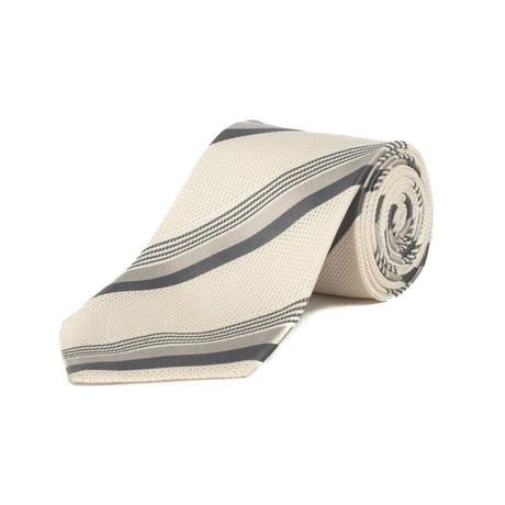 Couture Silk Textured Pattern Tie // Cream