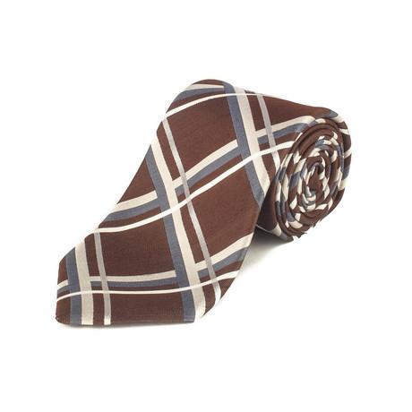Silk Striped Pattern Tie // Brown