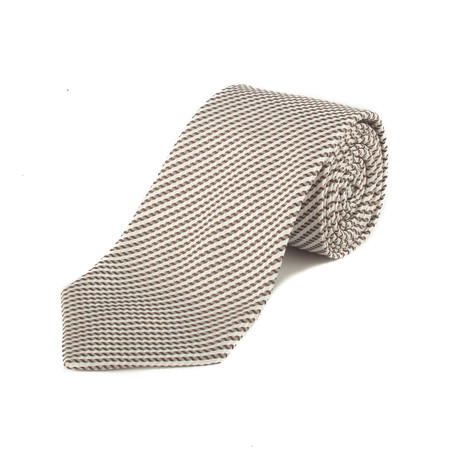Ermenegildo Zegna // Silk Textured Pattern Tie // Brown