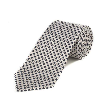 Ermenegildo Zegna // Silk Geometric Pattern Tie // White