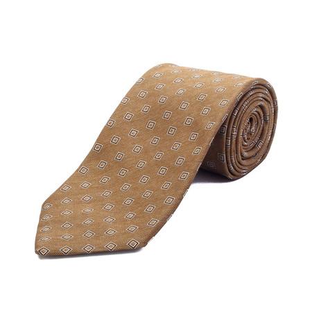 Ermenegildo Zegna // Wool Geometric Pattern Tie // Brown