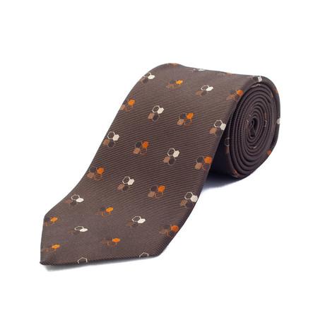 Ermenegildo Zegna // Silk Geometric Pattern Tie // Brown + Orange