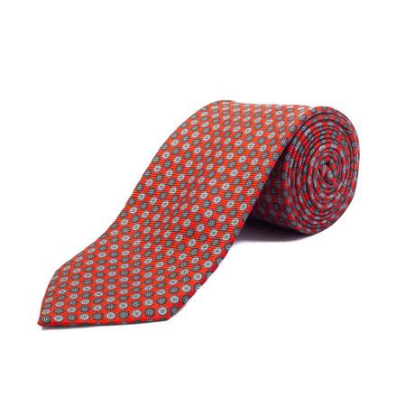 Silk Button Pattern Tie // Red