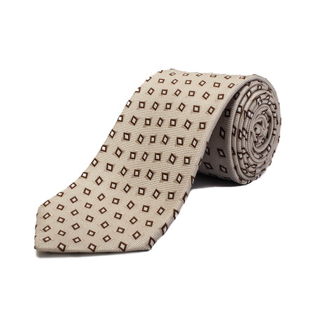 Ermenegildo Zegna // Silk Geometric Pattern Tie // Cream White