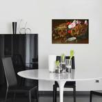 """Vanitas Still Life with Skulls, Flowers, a pearl mussel shell // Nicolaes van Veerendael (26"""" W x 18"""" H x 0.75"""" D)"""