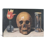 "Vanitas Still Life with a Tulip, Skull and Hour-Glass // Philippe de Champaigne (26""W x 18""H x 0.75""D)"