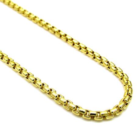 """10K Yellow Gold Round Box Chain // 3.5mm // 30"""""""