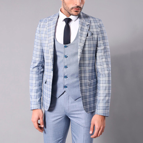 Freeman 3-Piece Slim-Fit Suit // Light Blue (Euro: 44)