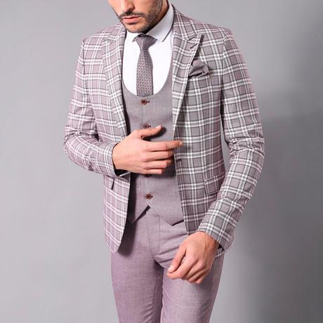 Frances 3-Piece Slim-Fit Suit // Light Burgundy (Euro: 44)