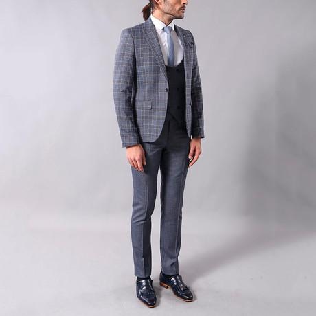 Lon 3-Piece Slim-Fit Suit // Smoke (Euro: 44)