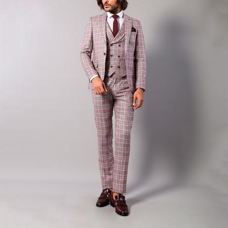 Leandro 3-Piece Slim-Fit Suit // Light Burgundy (Euro: 44)