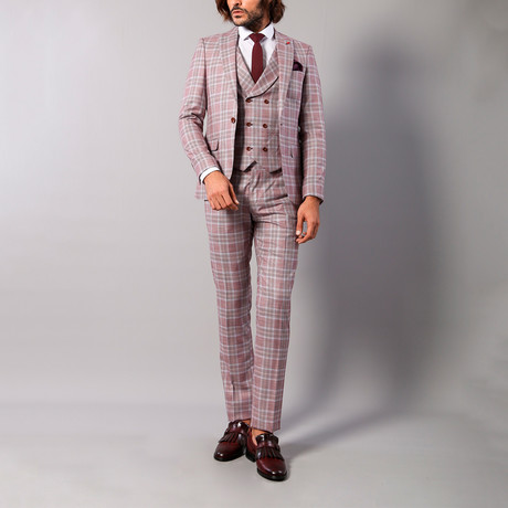 Leandro 3-Piece Slim Fit Suit // Burgundy (Euro: 44)