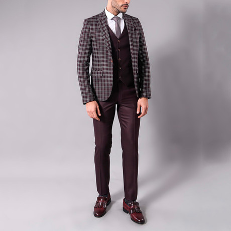 Wilfredo 3-Piece Slim-Fit Suit // Burgundy (Euro: 44)
