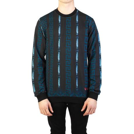 Baroque Medusa Cotton Sweatshirt // Black + Blue (Small)