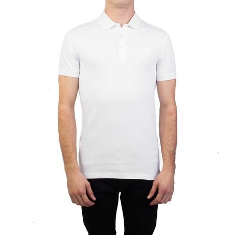 Cotton Pique Medusa Polo Shirt // White (Small)