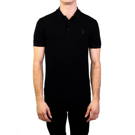 Cotton Pique Medusa Polo Shirt // Black (Small)