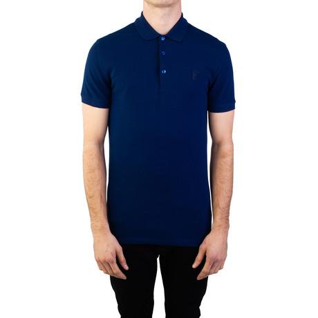 Cotton Pique Medusa Polo Shirt // Royal Blue (Small)