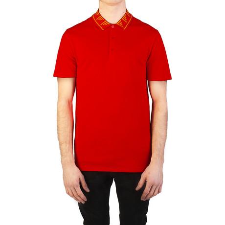 Cotton Pique Baroque Collar Polo Shirt // Red (S)