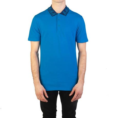 Cotton Pique Baroque Collar Polo Shirt // Aqua Blue (S)